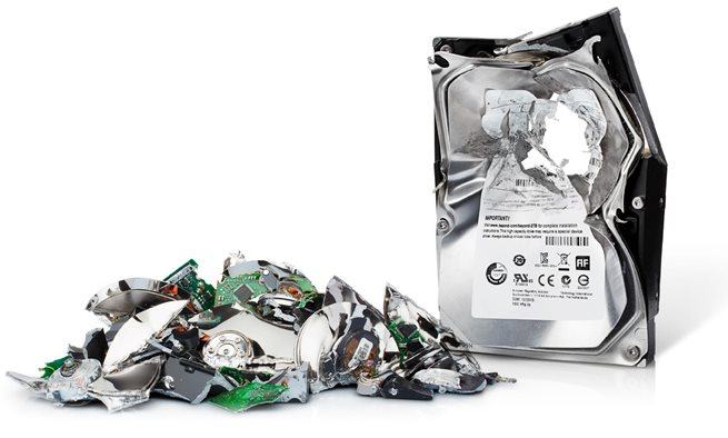 destroyed hard drive