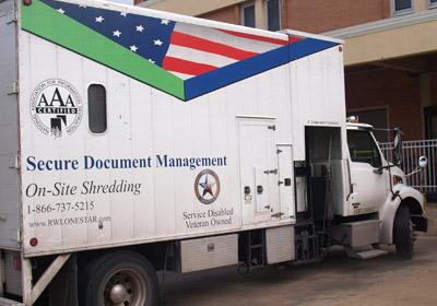 Secure paper shredding truck